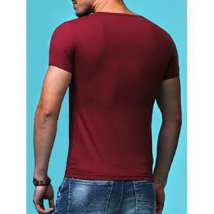 Slimming Round Neck Solid Color Short Sleeves T-Shirt For Men - CLARET XL