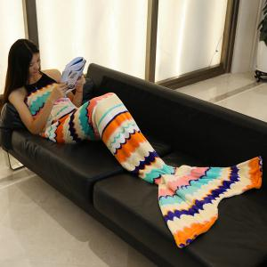 Trendy Sea Wave Stripe Pattern Mermaid Tail Style Casual Soft Blanket -