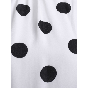 Vintage Stand Collar Sleeveless Polka Dot Dress For Women -