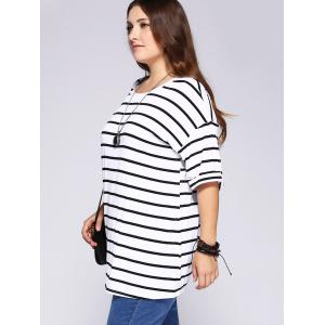Casual Plus Size Striped Loose-Fitting T-Shirt -