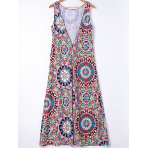 Ethnic Style Slimming Round Neck A-Line Dress For Women - COLORMIX XL