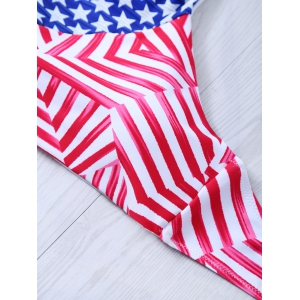 Halter American Flag Patriotic Swimwear - BLUE AND RED M