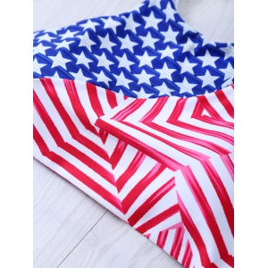 Halter American Flag Patriotic Swimwear - BLUE/RED 2XL