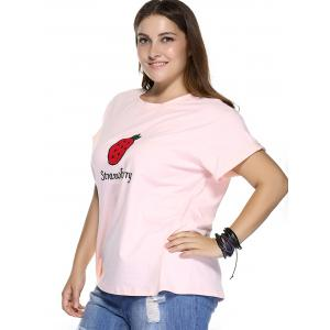 Casual Plus Size Strawberry Pattern Embroidered T-Shirt - LIGHT PINK 5XL