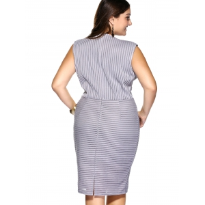 Plus Size Plunging Neck Striped Empire Waist Formal Dress -