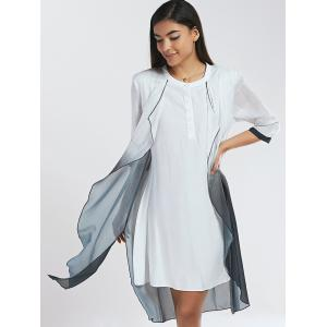 Chic Buttoned Ombre Faux Twinset Women's Dress -