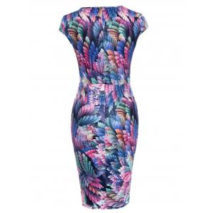 Trendy Square Neck Feather Print Skinny Women's Dress - COLORFUL XL