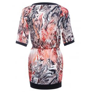 Fashionable Round Neck Printed Splicing Women's Dress -