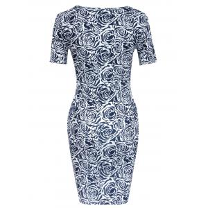 Charming Short Sleeve Abstract Floral Print Skinny Women's Dress -