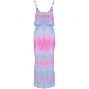 Tie-Dyed Flounce Overlay Slip Dress - COLORMIX XL