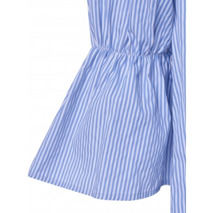 Casual Bell Sleeves Off-The Shoulder Stripe Dress For Women -