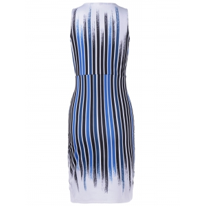 Fashionable V-Neck Slit Printing Slim Dress For Women -