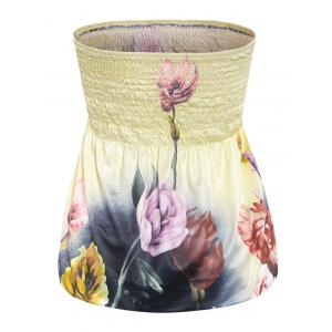 Alluring Strapless Floral Print Slimming Women's Tube Top - LIGHT YELLOW XL