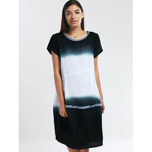 Loose Fitting Ombre Round Neck Women's Dress -