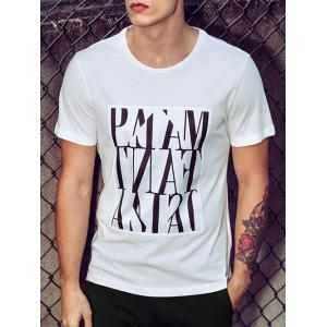 Round Neck Solid Color Printed Short Sleeves T-Shirt For Men -