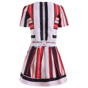 Chic Striped Lace Top +  Skirt Twinset For Women -