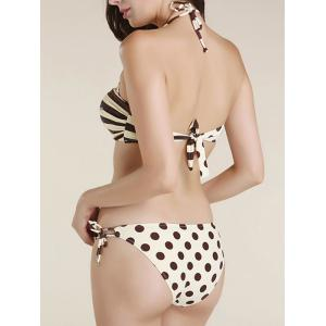 Stylish Halter Striped Polka Dot Twisted Bikini Set For Women - BEIGE 2XL