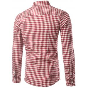Slimming Small Grid Long Sleeve Shirt For Men -