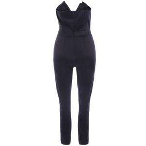 Strapless V-Neck Solid Color Backless Casual Women's Jumpsuit -