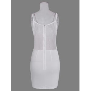 Hollow Out Bodycon Dress With Lace Insert - WHITE S