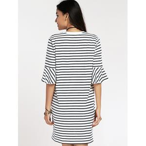 Flare Sleeve Round Neck Striped Letter Print Dress -