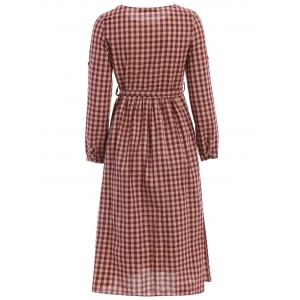 Vintage Jewel Neck Long Sleeve Plaid Flare Dress For Women -