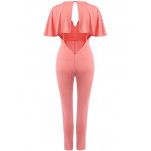 Sexy Plunging Neck Open Back Short Sleeve Jumpsuit For Women -