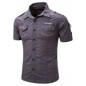 Turn-Down Collar Pocket Design Cargo Shirt For Men -