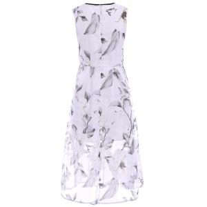 Sweet Jewel Neck Sleeveless Organza Floral Dress For Women - WHITE M