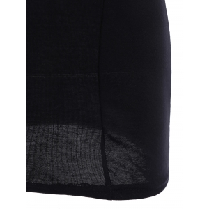 Trendy Voile Splicing Backless Sleeveless Women's Sexy Black Dress -