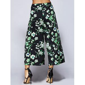 Tropical Floral Capri Palazzo Pants - BLACK AND GREEN S