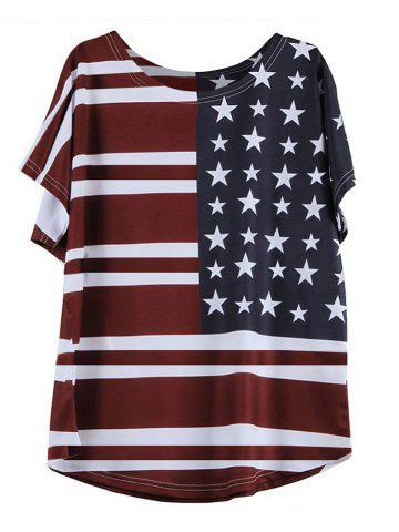 New Casual Short Sleeve Round Neck Flag Pattern T-Shirt WINE RED L