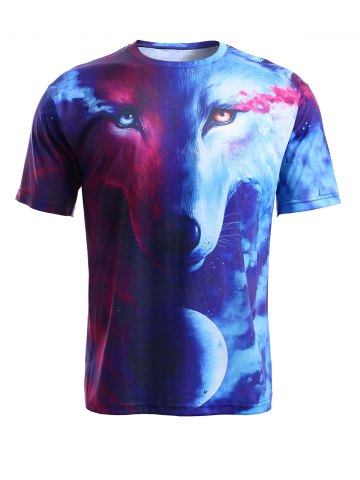 Best Round Neck 3D Starry Sky and Wolf Print Short Sleeve T-Shirt For Men COLORMIX XL