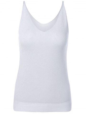 Unique V-Neck Pure Color Knitted Tank Top