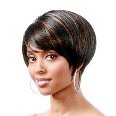 Fancy Spiffy Short Pixie Haircut Black Brown Mixed Side Bang Synthetic Wig For Women