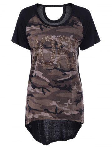 Hot Casual Camouflage Scoop Neck Short Sleeves Top For Women