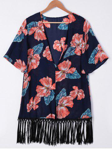Chic Fashionable Floral Print Fringe Kimono For Women