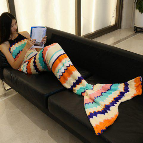 Fashion Trendy Sea Wave Stripe Pattern Mermaid Tail Style Casual Soft Blanket