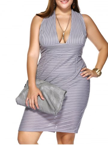 Affordable Plus Size Plunging Neck Striped Empire Waist Formal Dress