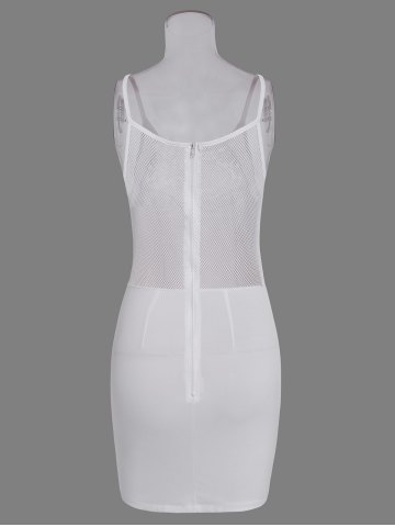 Online Hollow Out Bodycon Dress With Lace Insert - S WHITE Mobile
