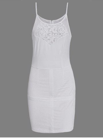 Outfit Hollow Out Bodycon Dress With Lace Insert WHITE S