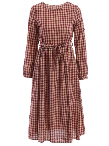 Outfits Vintage Jewel Neck Long Sleeve Plaid Flare Dress For Women