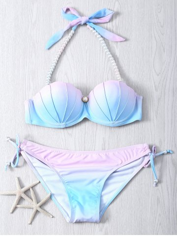 Outfits Sweet Beaded Halter Neck Color Ombre Bikini Set COLORMIX S