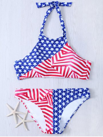 Trendy Halter American Flag Patriotic Swimwear BLUE AND RED XL