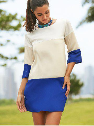 Affordable Round Neck Color Block 3/4 Sleeve Dress For Women