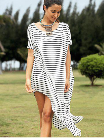 Casual Striped Short Sleeve High Slit Dress - White And Black - M