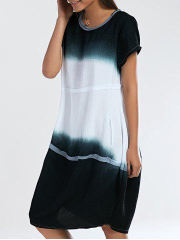 Best Loose Fitting Ombre Round Neck Women's Dress