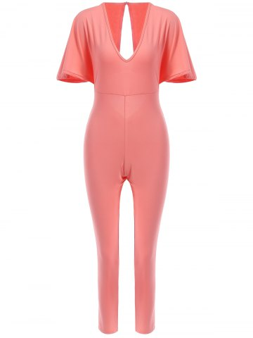 Shop Sexy Plunging Neck Open Back Short Sleeve Jumpsuit For Women