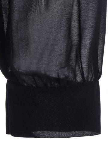 Trendy Sexy Round Neck Long Sleeve Black Cut Out Women's T-Shirt - L BLACK Mobile