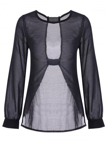Discount Sexy Round Neck Long Sleeve Black Cut Out Women's T-Shirt - L BLACK Mobile